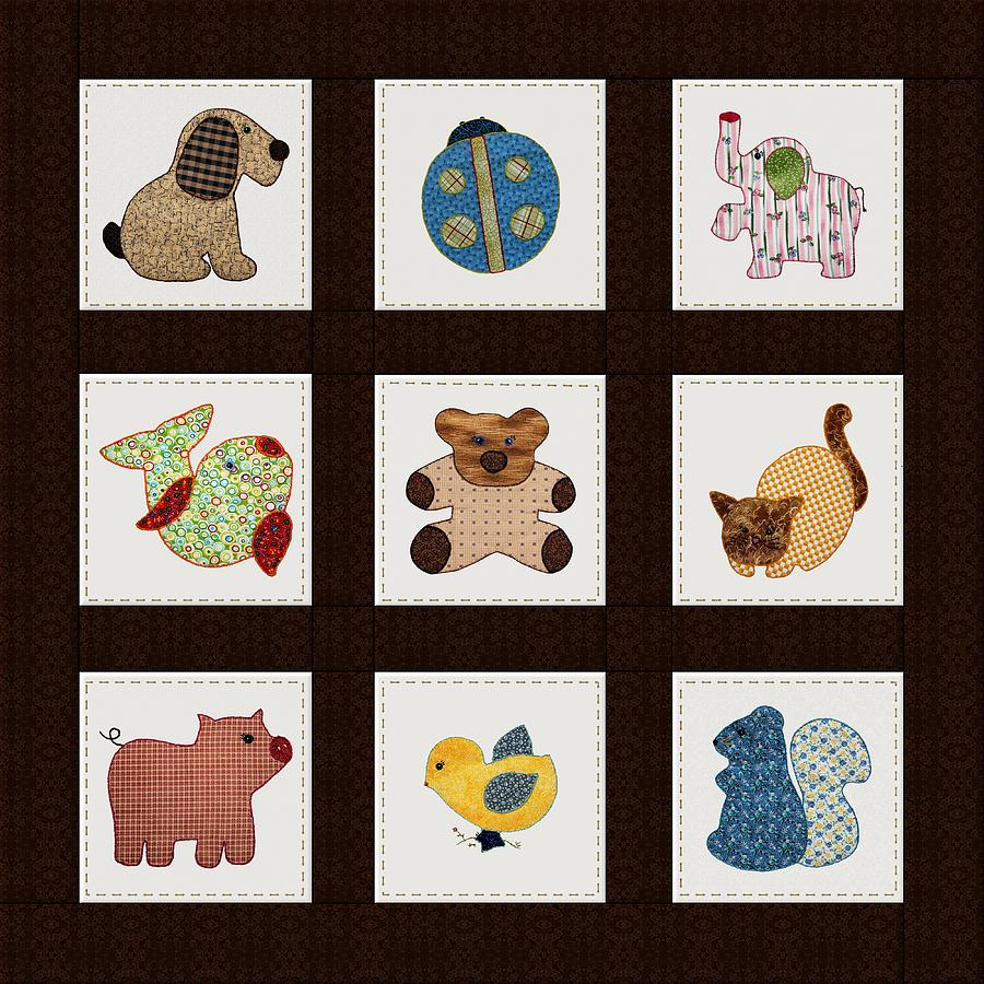 Cute Nursery Animals Baby Quilt Digital Art  - Cute Nursery Animals Baby Quilt Fine Art Print