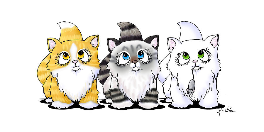 Cutie Face Kitten Trio Drawing  - Cutie Face Kitten Trio Fine Art Print