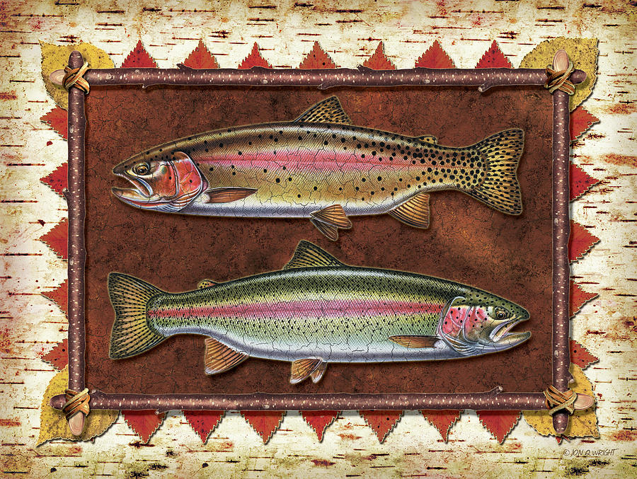 Cutthroat And Rainbow Trout Lodge Painting