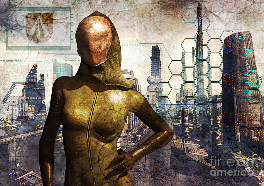 Cyber Queen Digital Art  - Cyber Queen Fine Art Print