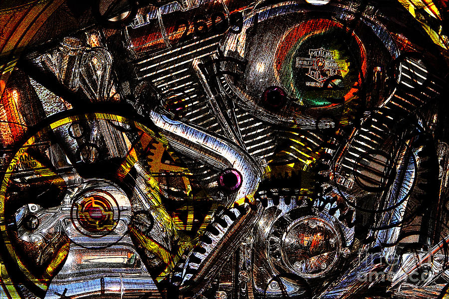 Cyberpunk Harley-davidson Modified In Abstract . 7d12658 Photograph