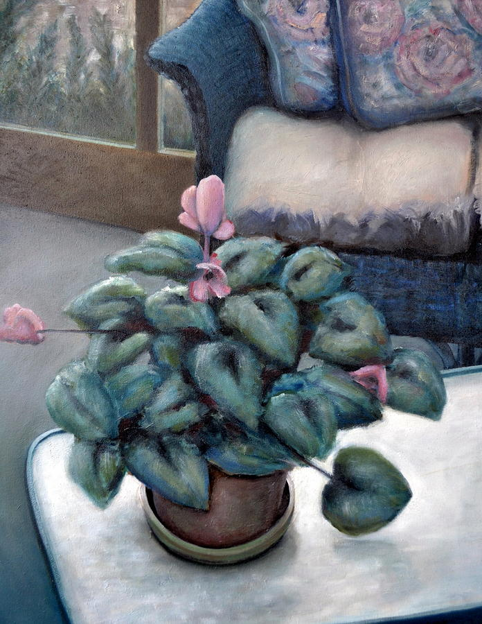 Cyclamen And Wicker Painting  - Cyclamen And Wicker Fine Art Print