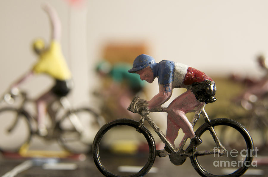 Cyclists. Figurines. Symbolic Image Tour De France Photograph  - Cyclists. Figurines. Symbolic Image Tour De France Fine Art Print