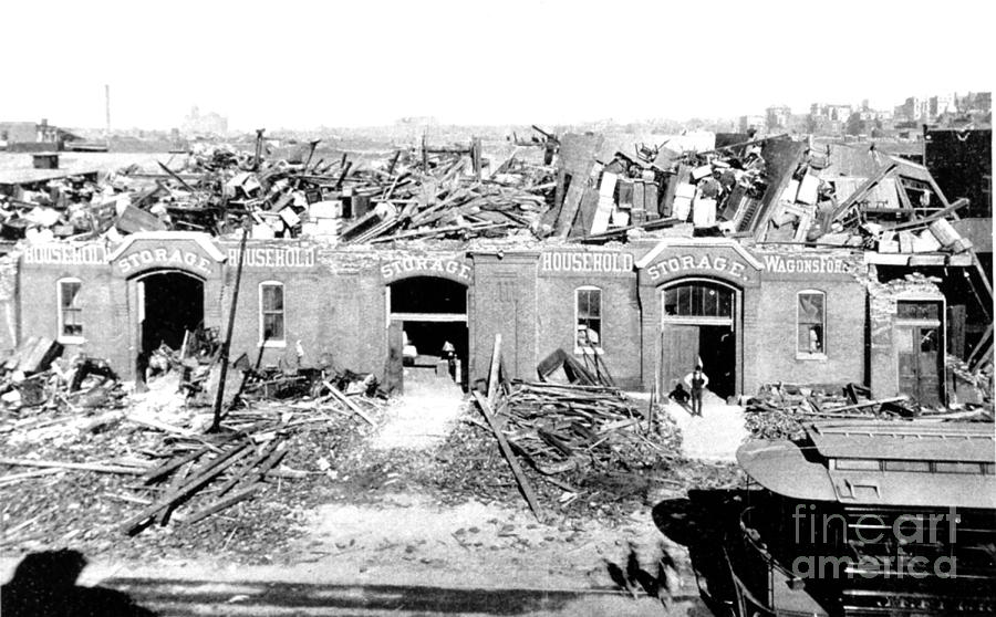 Science Photograph - Cyclone Damage, 1896 by Science Source