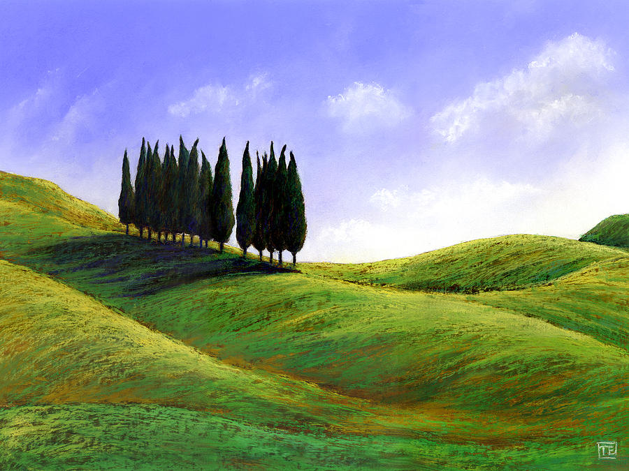 Cypresses At St Quirico Dorcia Painting