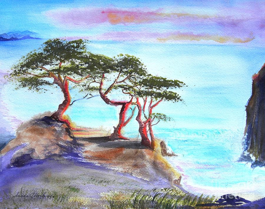 Cyprus Trees On California Coast Painting  - Cyprus Trees On California Coast Fine Art Print