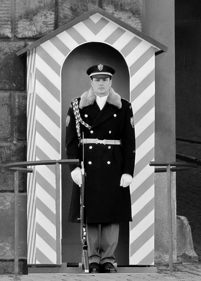 Honor Photograph - Czech Soldier On Guard At Prague Castle by Christine Till