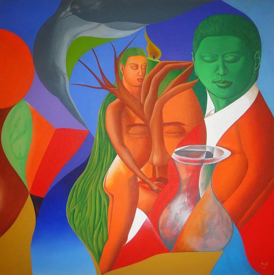 Many Things Painting - D Behre Herat Muraqba by Muhammad Arshad Khan MAK
