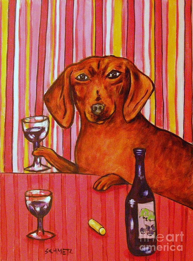 Dachshund At The Wine Bar Painting  - Dachshund At The Wine Bar Fine Art Print