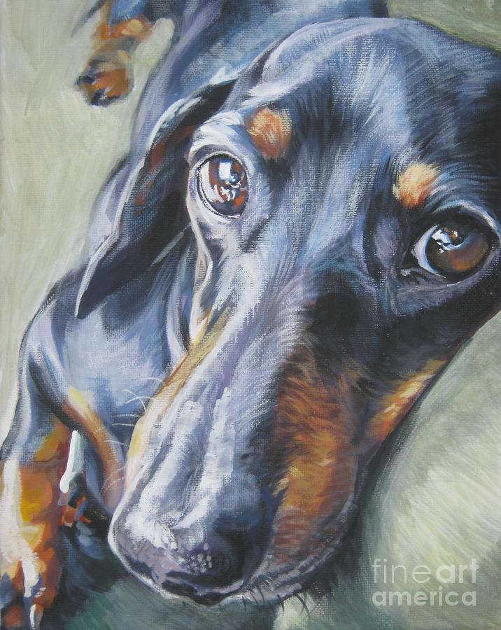 Dachshund Black And Tan Painting  - Dachshund Black And Tan Fine Art Print