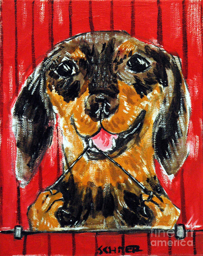 Dachshund Flossing Painting