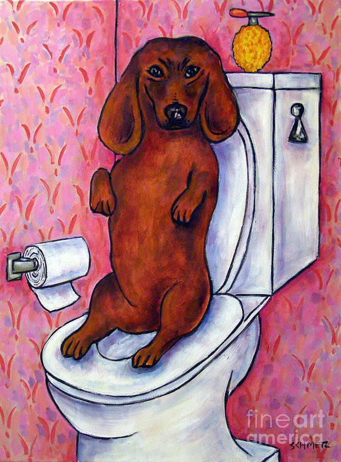 Dachshund In The Bathroom Painting  - Dachshund In The Bathroom Fine Art Print