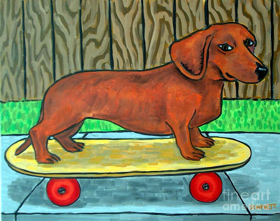 Dachshund Skateboarding Painting