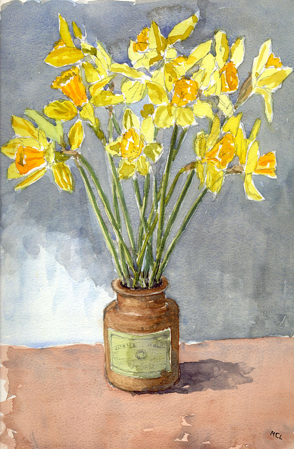 Daffodils In A Pot. Painting