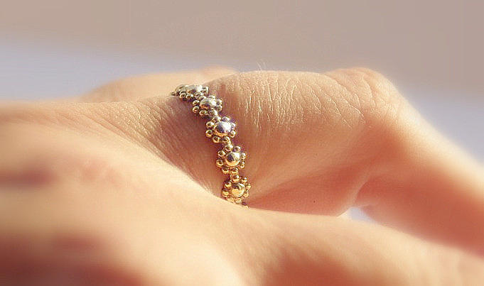 Dainty Gold Filled Daisy Flower Stacking Wedding Or Engagement Or Bridesmaid Ring Jewelry