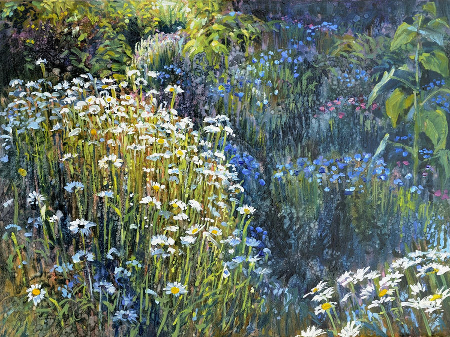 Daisies And Shades Of Blue Painting