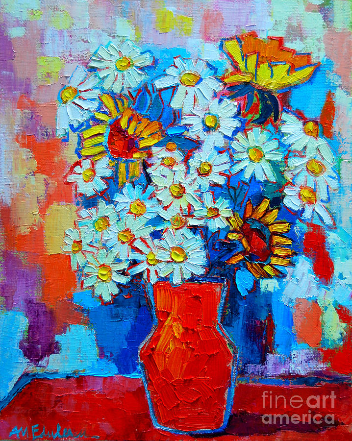 Daisies And Sunflowers Painting  - Daisies And Sunflowers Fine Art Print