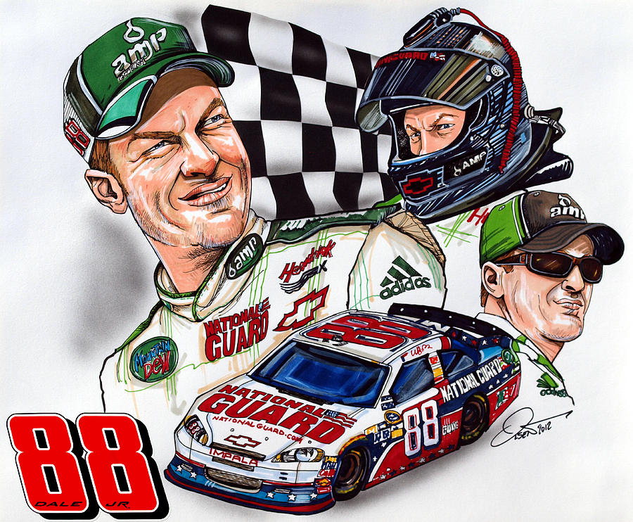 Dale Earnhardt Jr 88 Drawing Fine Art