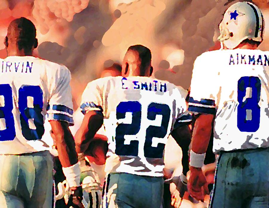 Dallas Cowboys Triplets Mixed Media  - Dallas Cowboys Triplets Fine Art Print
