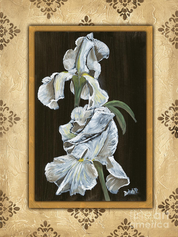 Damask White Floral 2 Painting  - Damask White Floral 2 Fine Art Print