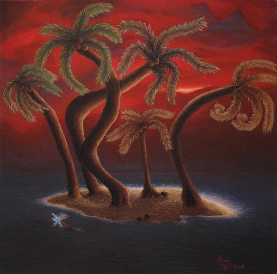 Dance Of The Coconut Palms Pastel  - Dance Of The Coconut Palms Fine Art Print