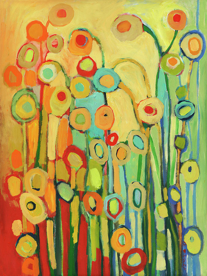 Dance Of The Flower Pods Painting  - Dance Of The Flower Pods Fine Art Print