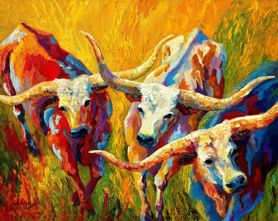 Dance Of The Longhorns Painting  - Dance Of The Longhorns Fine Art Print