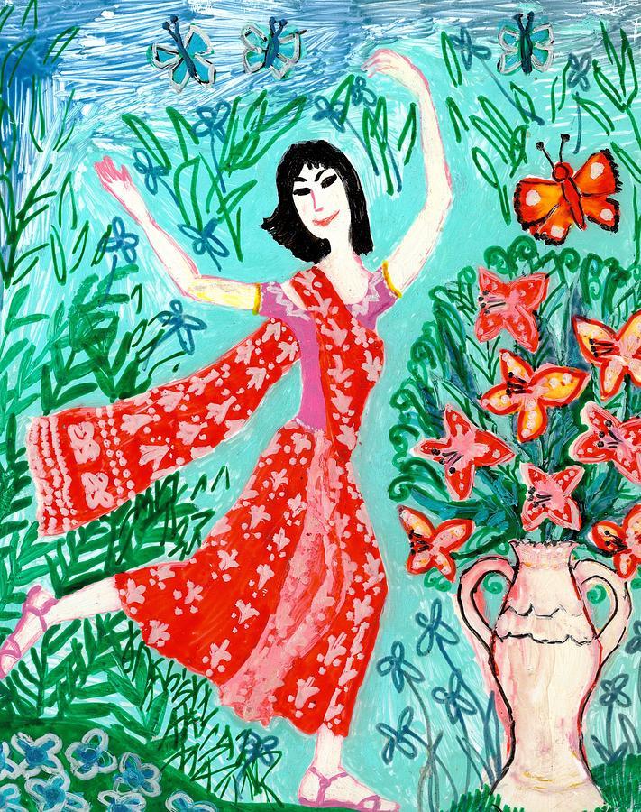 Dancer In Red Sari Painting