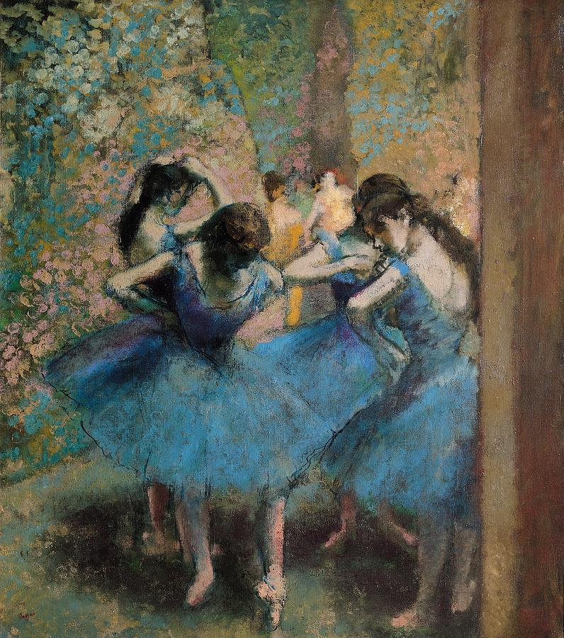 Dancers In Blue Painting
