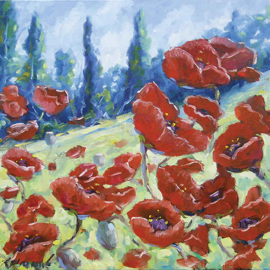 Dancing Poppies Painting  - Dancing Poppies Fine Art Print