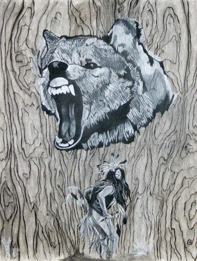 Dancing With The Spirit Of The Wolf Drawing  - Dancing With The Spirit Of The Wolf Fine Art Print