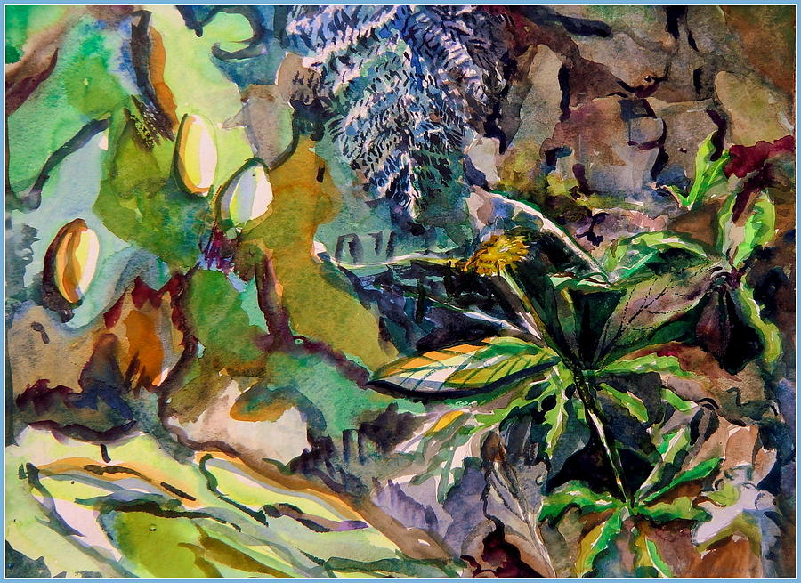 Dandelion In The Leaves Painting