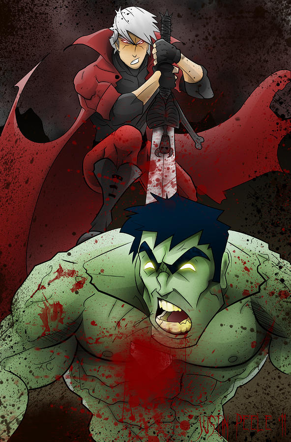 Dante Vs. The Hulk Digital Art