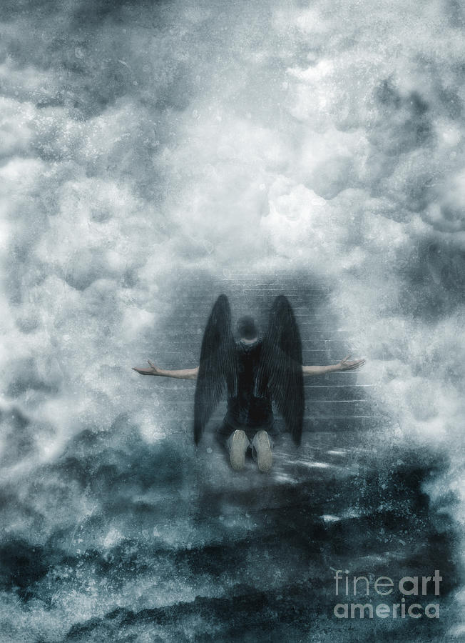 Dark Angel Kneeling On Stairway In The Clouds Photograph  - Dark Angel Kneeling On Stairway In The Clouds Fine Art Print