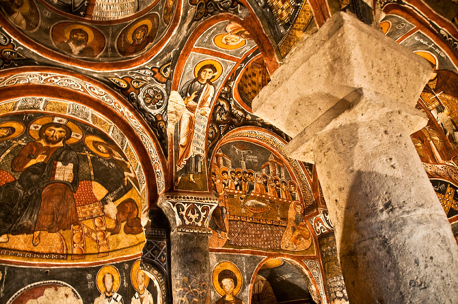 Dark Cave Church Byzantine Frescoes Photograph