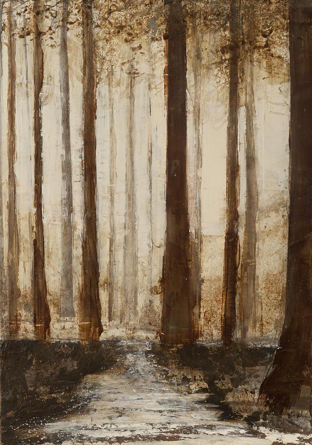 Dark Forest Trees Painting by Kaata Mrachek
