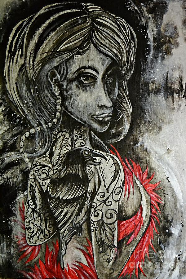 Dark Inked Icon Painting