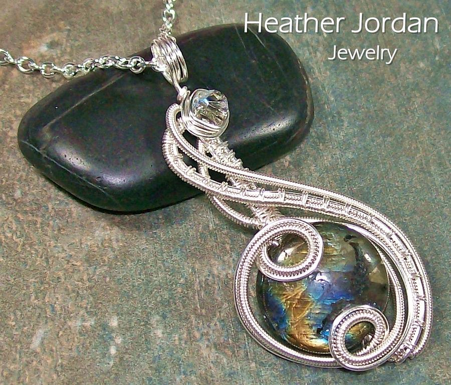 Dark Labradorite And Silver Coriolis Pendant Jewelry