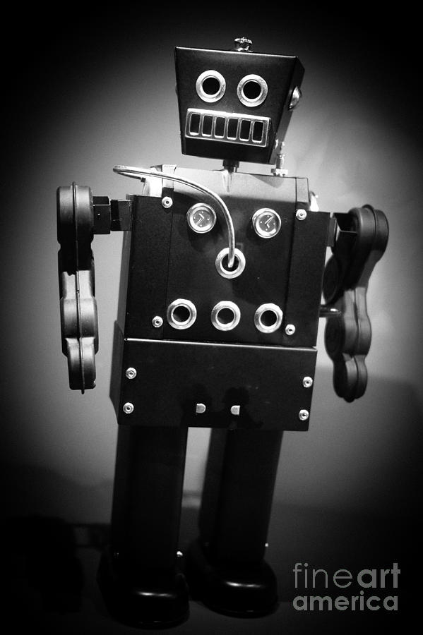Mechanical Photograph - Dark Metal Robot by Edward Fielding