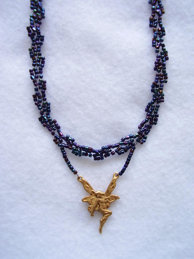 Dark Metallic Blue Choker With A Fairy Charm Jewelry