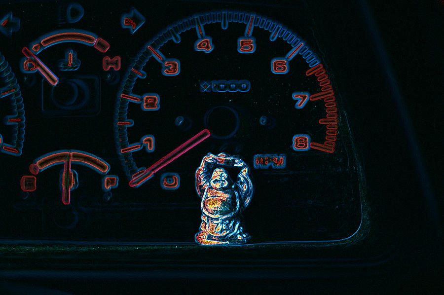 Dashboard Buddha Photograph  - Dashboard Buddha Fine Art Print
