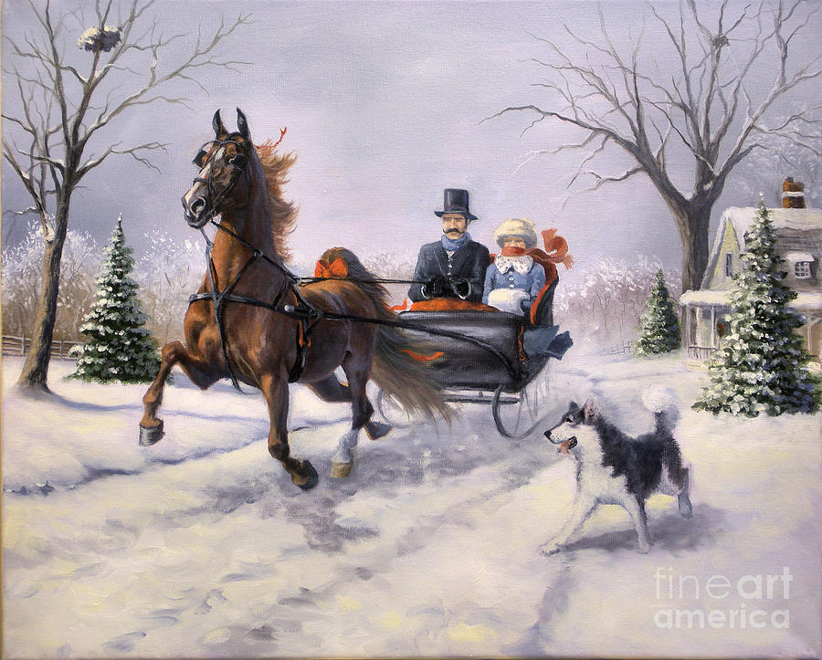 Dashing Through The Snow  II Painting  - Dashing Through The Snow  II Fine Art Print