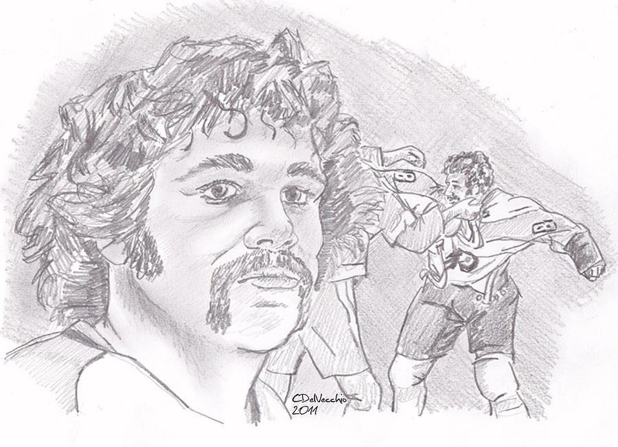 Drawing - Dave Schultz- The Hammer by Chris  DelVecchio