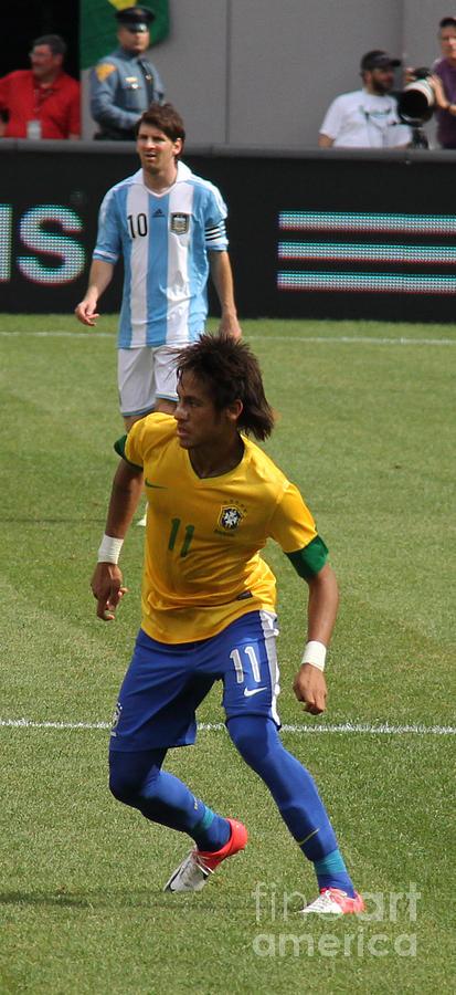 David And Goliath Lionel Messi And Neymar Junior Photograph