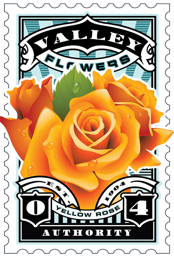 David Cook Umgx Vintage Illustrated Yellow Rose Stamp Art Poster Digital Art  - David Cook Umgx Vintage Illustrated Yellow Rose Stamp Art Poster Fine Art Print