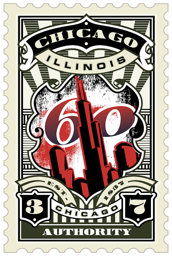 David Cook Umgx Vintage Studios Chicago Authority Illustrated Stamp Art Poster Digital Art  - David Cook Umgx Vintage Studios Chicago Authority Illustrated Stamp Art Poster Fine Art Print