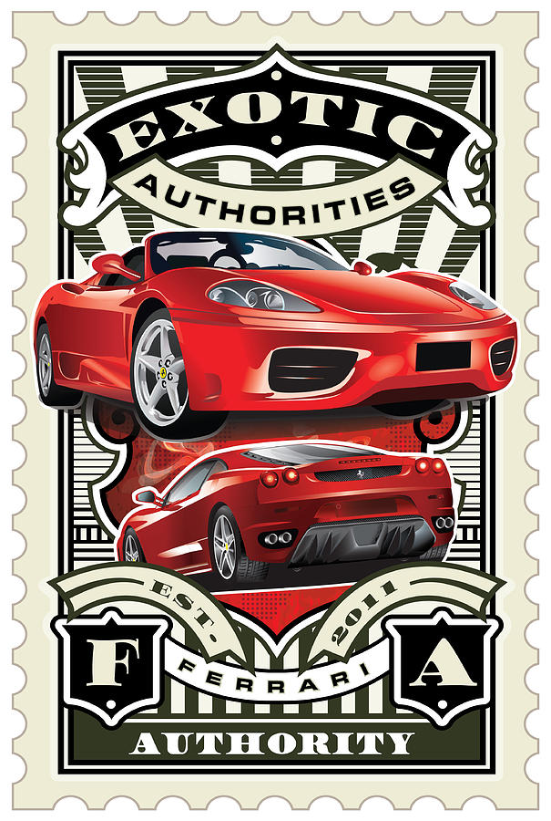 David Cook Umgx Vintage Studios Ferrari Authorities Illustrated Stamp Art Poster Digital Art  - David Cook Umgx Vintage Studios Ferrari Authorities Illustrated Stamp Art Poster Fine Art Print
