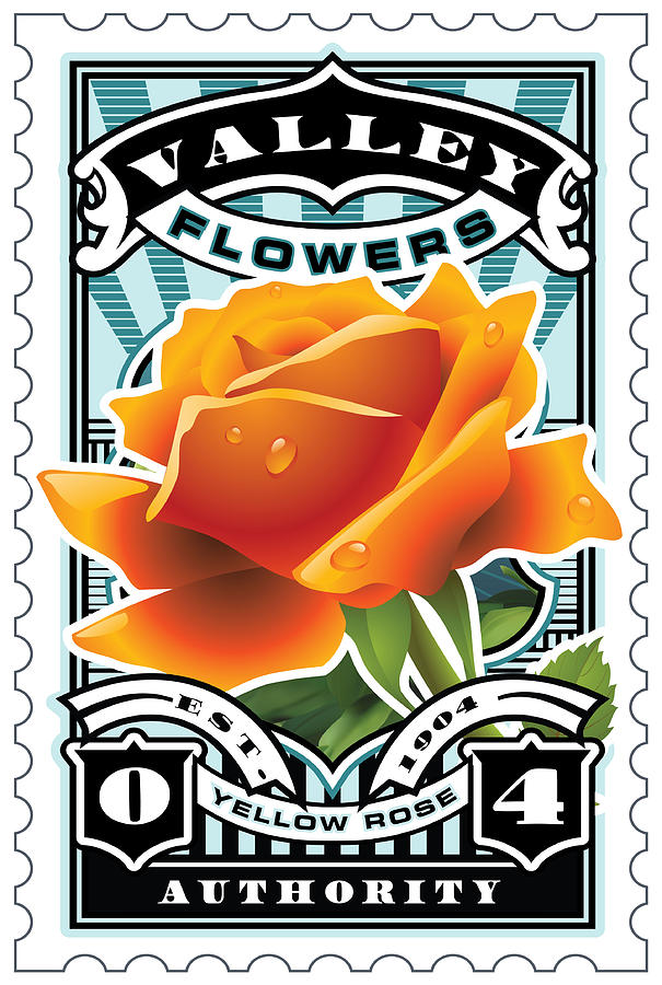 David Cook Umgx Vintage Studios Orange Rose Illustrated Stamp Art Poster Digital Art  - David Cook Umgx Vintage Studios Orange Rose Illustrated Stamp Art Poster Fine Art Print