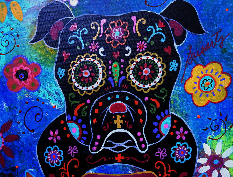 Day Of The Dead Bulldog Painting By Pristine Cartera Turkus
