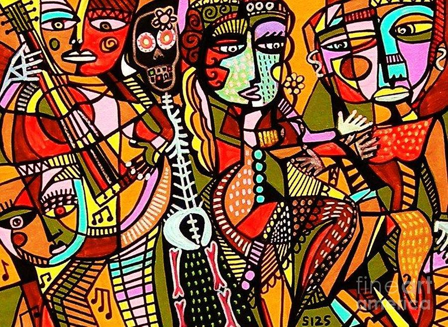 Women Painting - Day Of The Dead Lovers Tango by Sandra Silberzweig
